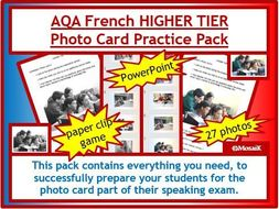 AQA French GCSE Speaking HIGHER photo card pack