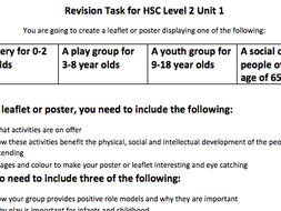 Revision Task for Health and Social Care Level 2 Unit 1