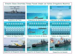Past Simple Tense with Irregular Verbs Spanish PowerPoint Battleship Game