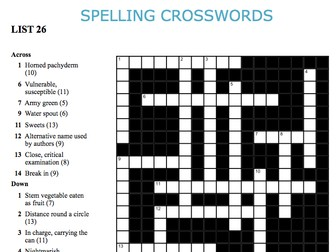 Graded Spelling and Vocabulary Crosswords 26-30