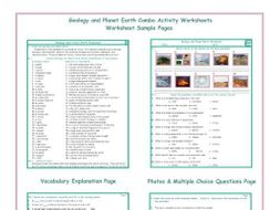 Geology and Planet Earth Combo Activity Worksheets