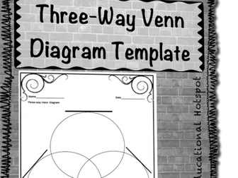 Three Way Venn Diagram Graphic Organizer Template (Differentiated)