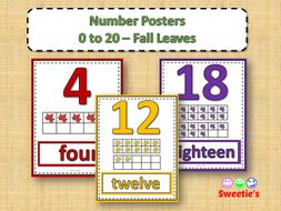 Number Posters 0 to 20 with Ten Frames - Fall Theme
