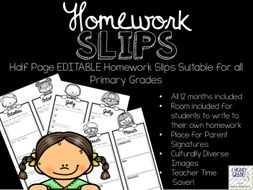 Editable Half Page Homework Slips