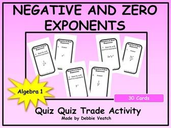 Negative and Zero Exponents Quiz Quiz Trade Activity