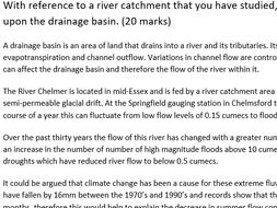 With reference to a river catchment that you have studied, assess the potential impact of human...