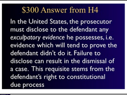 Jeopardy Game ~ Criminal Law ~ EVIDENCE ~ Criminal Procedure