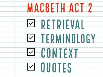 Macbeth Act 2 Consolidation / Revision Activities