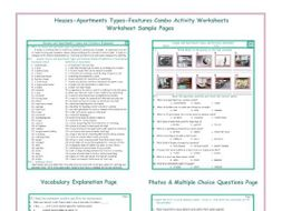 Houses-Apartments Types-Features Combo Activity Worksheets