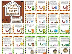 Common Core 6th Grade ELA Posters Kids and Animals with I Can Statements