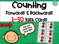 Counting Forwards and Backwards 1-50 Task Cards