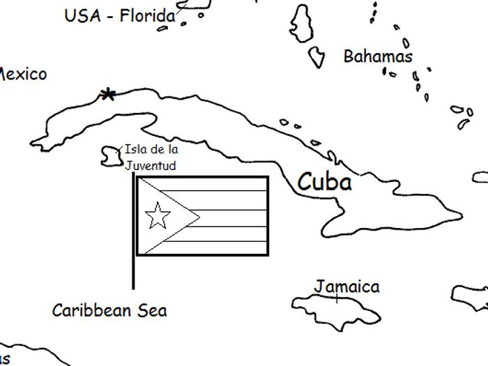 graphic about Printable Map of Cuba named CUBA - Printable handouts with map and flag