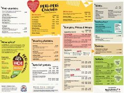 Nandos 2019 Menu Comprehension KS2