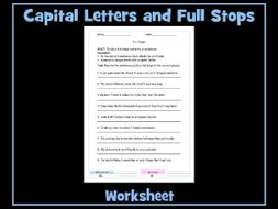 Using Full Stops and Capital Letters Worksheet