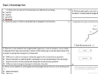 Edexcel CB8 Biology Knowledge Assessment