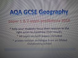 GCSE geography AQA exam predictions and revision paper 1 & 2 2019
