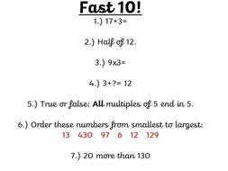 Fast 10!  Starter activities in maths.