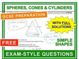 Gcse 9 1 Exam Question Practice Spheres Cones Cylinders By