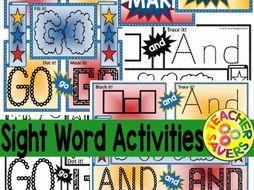 Sight Word Activities No-Prep Pre-Primer