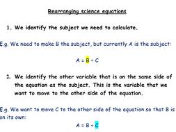 Rearranging scientific equations help sheet.