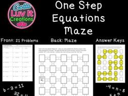 Solving Equations One Step Equations With Negatives - 2 Mazes