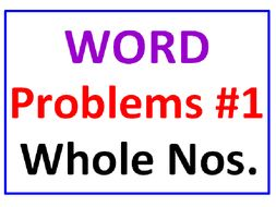 """Word Problems for Whole Numbers """"ONE"""""""
