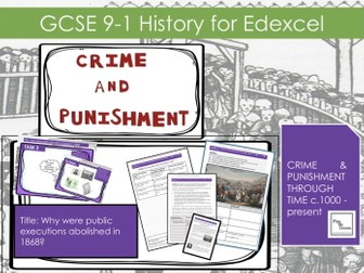 Edexcel GCSE 9-1 Crime Punishment:  Lesson 19  Why were public executions stopped in 1868?