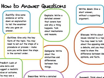 How to answer questions help sheet - science command words