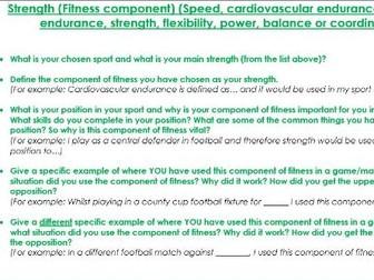 AQA GCSE PE Analysis of Performance New Spec - Templates