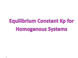 Equilibrium constant Kp for homogeneous systems