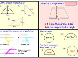 GCSE Geometry - Area, Perimeter, Volume, Angles & Pythagoras Revision (ppt)