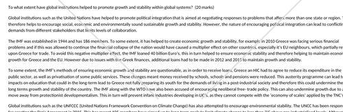 Global systems & global governance A level essay.