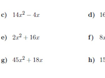 Factorising into single brackets worksheet no 2 (with answers)