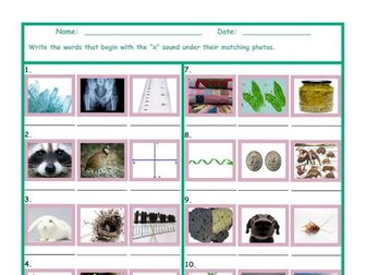 Phonics X Sound Photo Worksheet