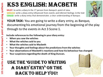 KS3/4 English MACBETH - Banquo's Diary TASK CARD
