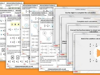 Year 6 Add and Subtract Fractions 2 Autumn Block 3 Step 6 Lesson Pack