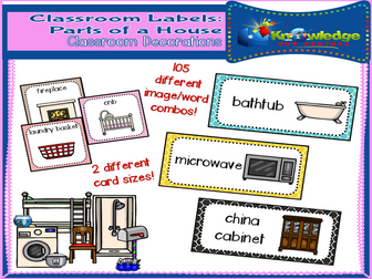 Classroom Labels: Parts Of A House