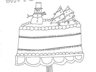 Christmas Cake: Colouring Page