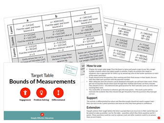 Bounds of Measurements (Target Table)