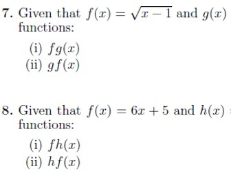 Composite functions worksheet no 2 (with solutions)