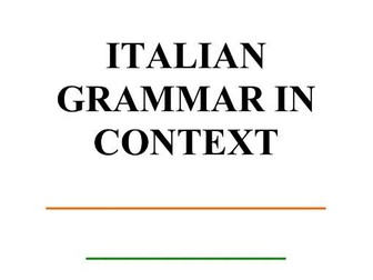 Italian Grammar in Context