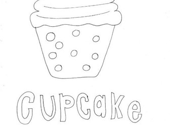 Cupcake (2):  Colouring Page