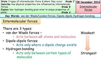 AQA/Edexcel AS Chemistry - Intermolecular forces entire lesson & resources