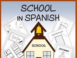 Spanish School Vocabulary Sheets, Worksheets, Matching & Bingo Games