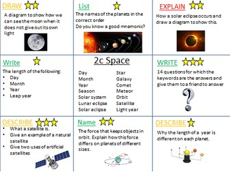 Space revision activities KS3