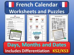 french calendar puzzles worksheets days months dates by fullshelf teaching resources. Black Bedroom Furniture Sets. Home Design Ideas