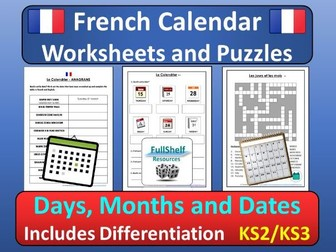 French Calendar Puzzles / Worksheets (Days, Months, Dates)