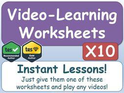 Video-Learning Worksheets [x10]      (AfL, Worksheet, Worksheets, Printables, Documentaries, Videos)