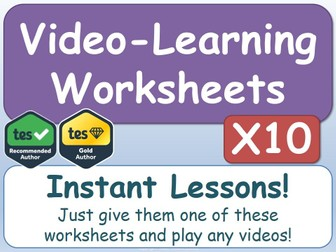 Video-Learning Worksheets [x10]      (AfL, Worksheet, Worksheets, Printables, Documentaries, Videos)