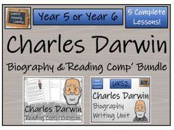 UKS2 Science - Charles Darwin Reading Comprehension & Biography Writing Bundle
